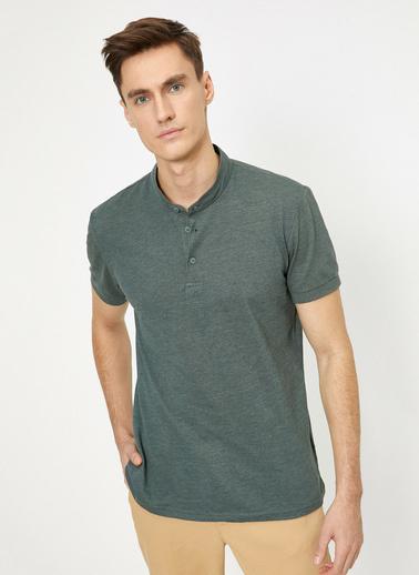 Koton Hakim Yaka Basic Slim Fit T-Shirt Yeşil